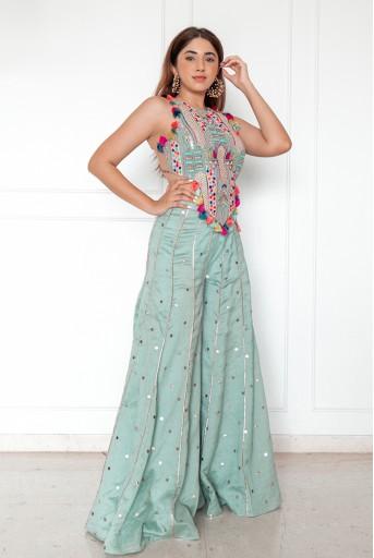 PS-FW719-G-1  #PSGirl Aashna Shroff - Adah Pale Blue Choli with Sharara
