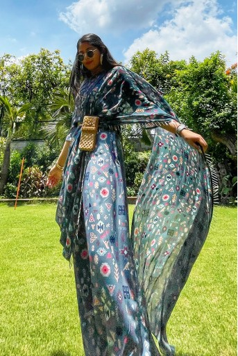 PS-ST1188-AAA-1  #PSGirl Chikky Goenka - Blue Printed Art Crepe Crop Top and Low Crotch Pant with Attached Printed Art Georgette Drape