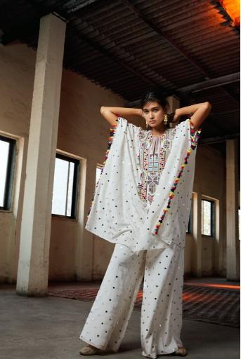 PS-FW716-16  #PSGirl Gurleen Gambhir - Adena Off White Kaftaan with Palazzo