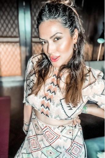 PS-FW615-GG-1  #PSGirl Himani Shah - Blush Colour Printed Art Georgette Balloon Top Frill Skirt