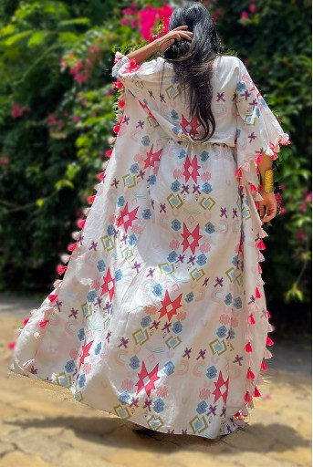 PS-KF0057-A-1  #PSGirl Karishma Sakhrani - White Colour Printed Silkmul Kaftaan