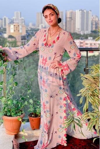 PS-KF0046-M-3  #PSGirl Roshni Chopra - Pink Printed Crepe High-Slit Kaftaan with Belt