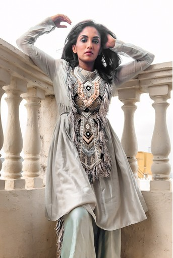 PS-FW694-2  #PSGirl Shrima Rai - Manizeh Pale Blue Silkmul Kurta and Palazzo
