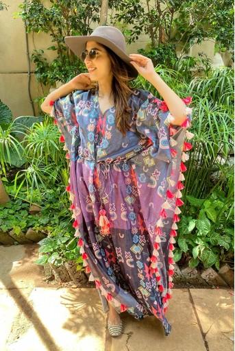 PS-KF0059-A-2  #PSGirl Simone Khambatta - Purple Colour Printed Silkmul Kaftaan