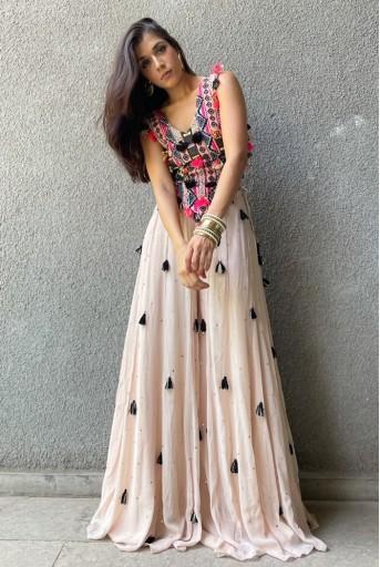 PS-FW774-B-1  #PSGirl Sukhmani Gambhir - Zaha Stone Colour Georgette Embroidered Tie-Up Choli with Mukaish Georgette Sharara