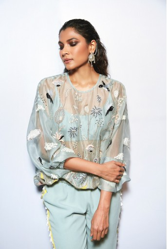 PS-FW728-3  #PSGirl Trishala Sikka - Abidah Pale Blue Top with Bustier and Jogger Pants