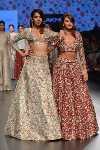 PS-FW395 Aarzoo Pomegranate Dupion Silk Choli and Lehenga