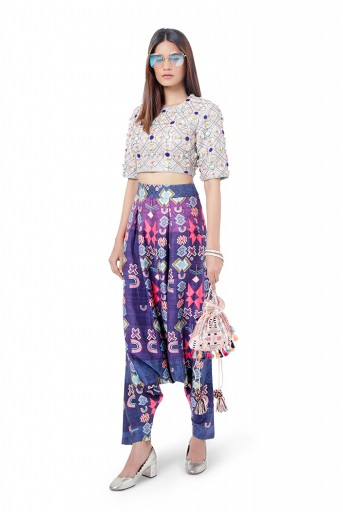 PS-FW744  Abia Pale Blue Colour Dupion Silk Embroidered Choli with Purple Colour Printed Dupion Silk Low Crotch Pant