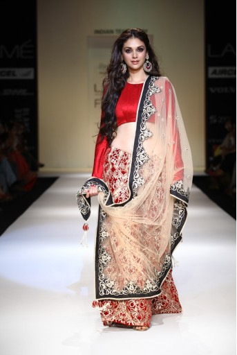 PS-FW191 Aditi Red Dupion Silk Choli with Sharara and Cream Net Dupatta