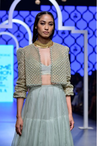 PS-FW478 Afrah Mint Net Bomber Jacket with Brocade Bustier and Organza Skirt