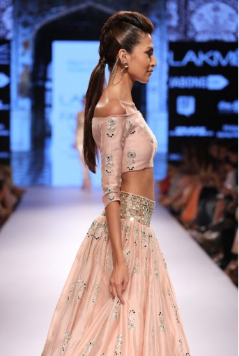 PS-FW316 Afroza Blush Silkmul Off Shoulder Choli with Lehenga