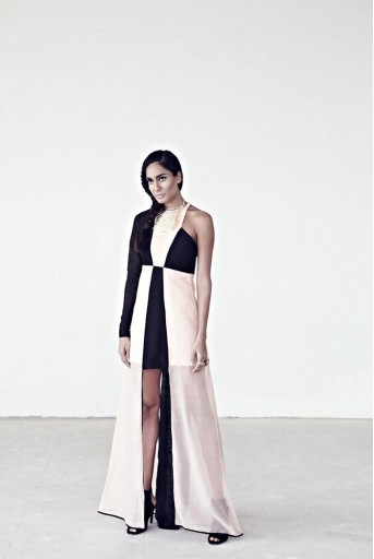 PS-FW193 Afsan Black and Blush Silkmul Gown