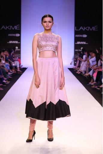 PS-FW250 Afsar Dusky Rose Silkmul Choli with Churidar Skirt