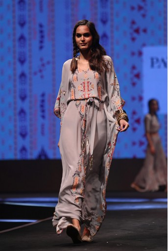 PS-FW614 Afshan Grey Printed Crepe Kaftan