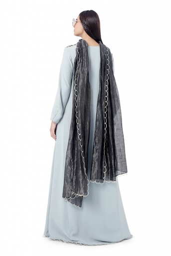 PS-FW746  Aiman Pale Blue Colour Georgette Embroidered High-Low Kurta with Frill Palazzo and Black Colour Chanderi Stripe Dupatta