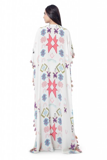 PS-FW738  Aiza White Printed Crepe Embroidered Kaftaan