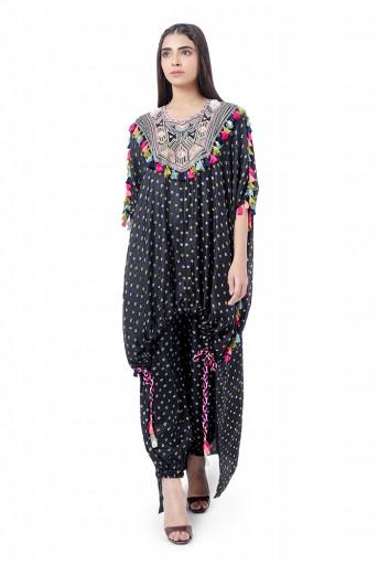 PS-FW749  Aizize Black Colour Bandhani Silk Yoke Embroidered Kaftaan with Drawstring Details and Jogger Pant