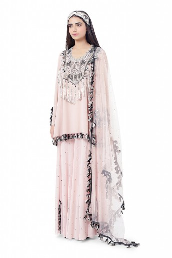 PS-FW745  Aizza Rose Pink Colour Georgette Embroidered Kurta with Mukaish Georgette Sharara and Dot Mukaish Dupatta