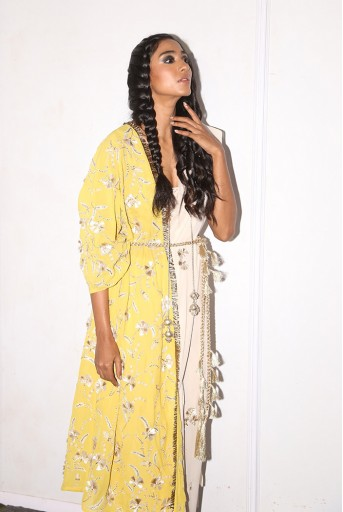PS-FW595 Alara Stone Crepe Choli with Georgette Saree and Lime Green Georgette One Side Jacket