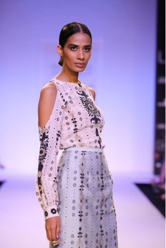PS-FW249 Aliyah Stone Printed Crepe Tunic with Pale Blue Printed Silkmul Skirt