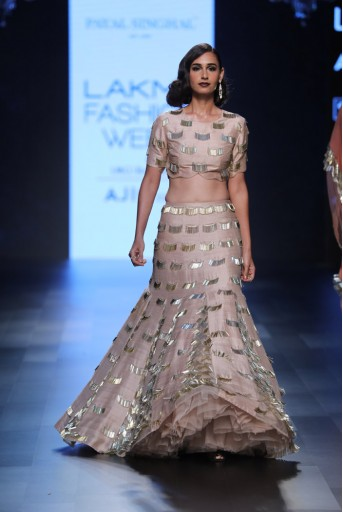 PS-FW433 Alla Blush Dupion Silk Choli and lehenga