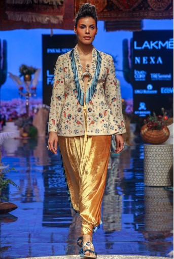 PS-FW648 Almir Stone Georgette Jacket with Mustard Yellow Velvet low Crotch Pant