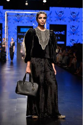 PS-FW576 Amaliya Black Velvet Balloon Sleeve Top with Palazzo