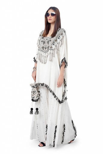 PS-FW747  Amaya Chalk White Colour Georgette Embroidered Short Kaftaan with Sharara
