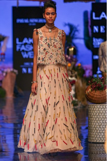 PS-FW649 Amaya Georgette Top with Lehenga