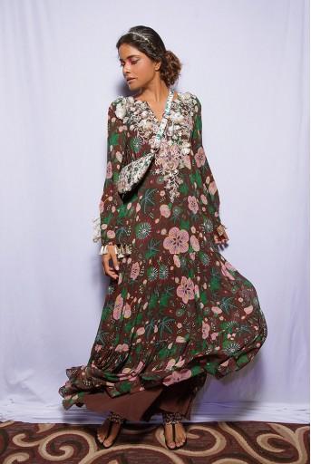 PS-DR0012 Amineh Brown Printed Georgette Tiered Dress