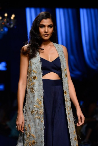 PS-FW447 Amyra Powder Blue net Jacket with Navy Silk Jumpsuit