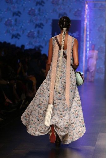 PS-FW545 Anira Powder Blue Printed Crepe High-Low Kurta with Frill Palazzo and Dusky Rose Mukaish Georgette Dupatta