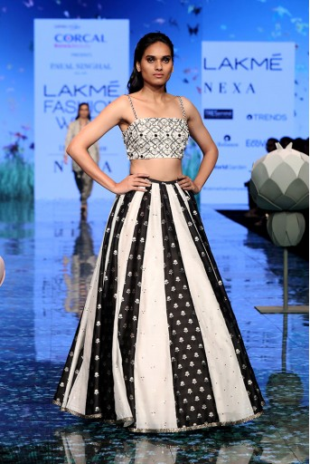 PS-FW723 Anisa Chalk White Choli with Chalk White and Black Panelled Lehenga