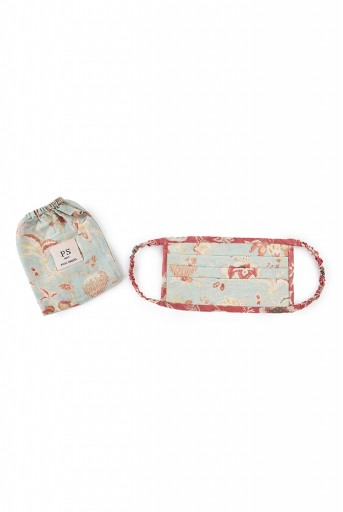 PS-MS0020 Aqua and Coral Chidiya Print Pleated 3 Ply Mask with Pouch