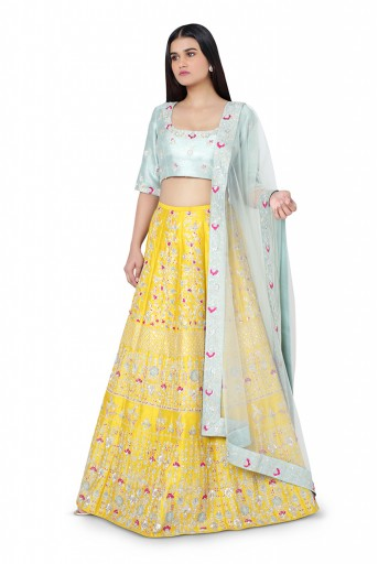 PS-LH0028-1  Aqua Colour Dupion Silk Choli with Net Dupatta and Mustard Colour Dupion Silk Lehenga