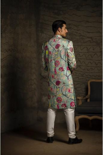 PS-MN085 Aqua Printed Dupion Silk Sherwani with Off White Cotton Silk Churidar