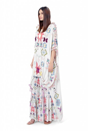PS-FW784  Aria White Printed Crepe Embroidered High-Low Kaftaan with Frill Palazzo