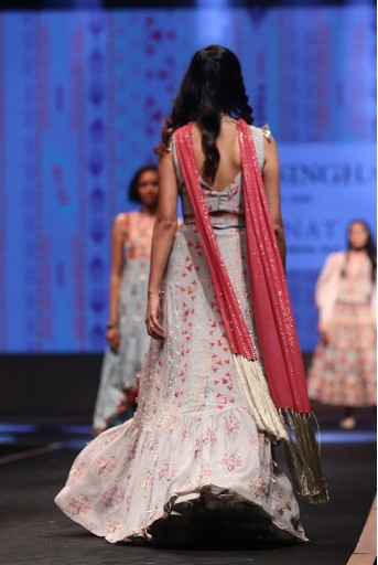 PS-FW620 Arsha Grey Printed Crepe Tie-up Choli with Crepe and Georgette Frill Lehenga and Cranberry Mukaish Georgette Dupatta