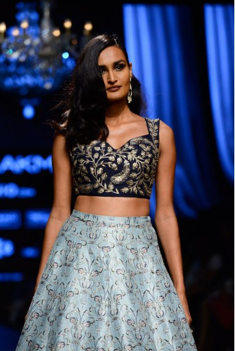 PS-FW441 Arva Navy Dupion Silk Choli with Aqua Printed Dupion Silk Lehenga