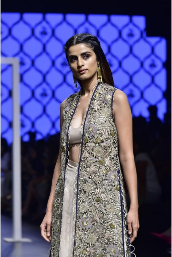PS-FW473 Ashna Navy Silk Jacket with Blush Silk Bustier and Palazzo