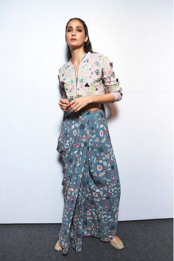 PS-FW713 Aviva Lavender Lime Printed Georgette Bomber Jacket and Grey Printed Saree
