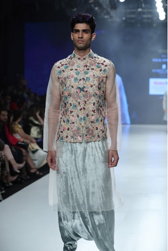PS-FW684 Ayan Stone Organza Bandi with Kurta and Periwinkle Blue Velvet Low Crotch Pant