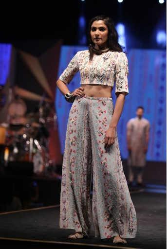 PS-FW609 Ayatal Cream Printed Crepe Choli with Grey Printed Crepe Palazzo