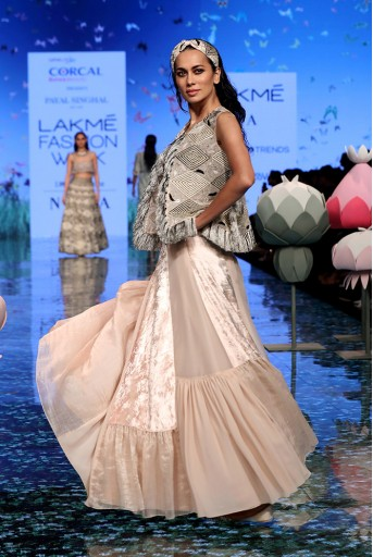PS-FW699-2  Ayda Stone Organza Embroidered Jacket with Georgette embroidered bustier and Asymmetric lehenga