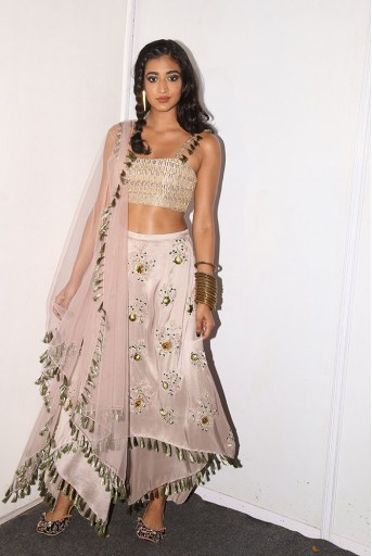 PS-FW596 Aylen Grey Silk Bustier and Skirt Palazzo with Blush Net Dupatta