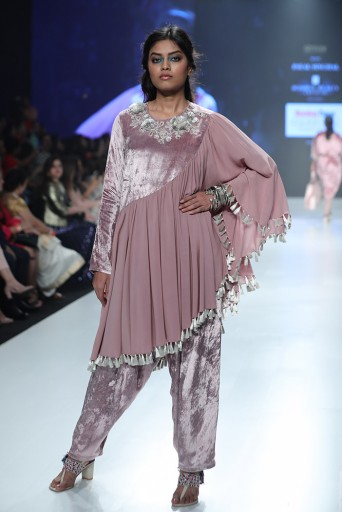 PS-KP0012 Azita Rose Pink Velvet and Georgette Assymetric Kurta with Velvet Bustier and Salwar