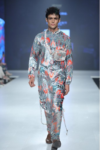 PS-FW645A Aziz Blue Printed Velvet Kurta and Silkmul Churidar