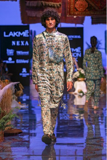 PS-FW645 Aziz White Printed Velvet Kurta and Silkmul Churidar