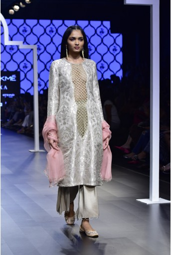 PS-FW477 Azra Grey Brocade Kurta with Silk Bustier and Cropped Palazzo and Onion Pink Organza Dupatta