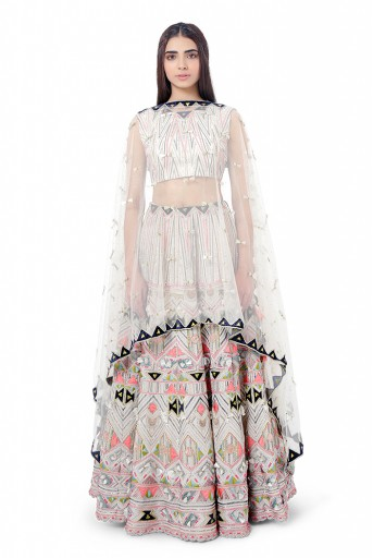 PS-FW748  Basira Chalk White Colour Georgette Embroidered Choli with Lehenga and Net Mukaish Dupatta
